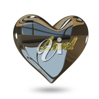 3D Illustration of a Metal Heart on a White Background