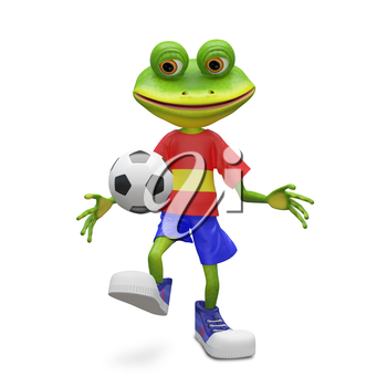 3D Illustration Frog Football Player on a White Background