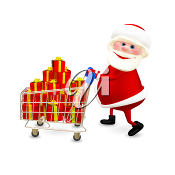 3D  Illustration Santa with the Trolley with Gifts on White Background