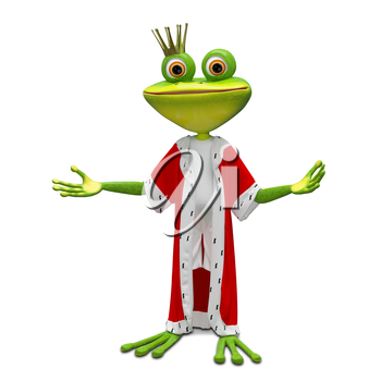 3D Illustration of the Princess Frog in the Mantle on a White Background