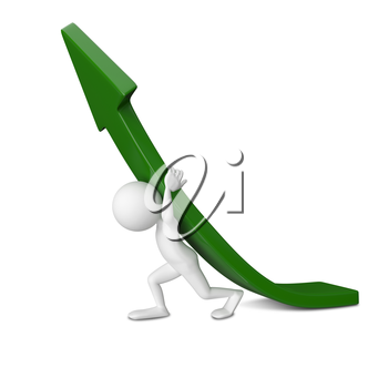 3D Illustration of Abstract Man Raises Green Arrow on a White Background