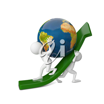 3D Illustration of Two Abstract People Raising a Globe on a White Background