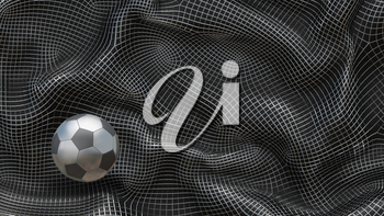 3D Illustration Metal Soccer Ball on an Abstract Background