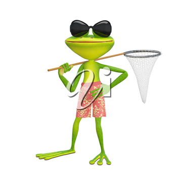 3D Illustration of a Frog with a Butterfly Net on a White Background