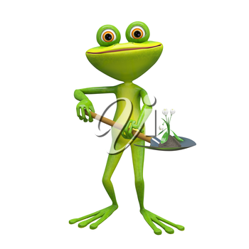 3D Illustration of a Frog with a White Flower on a Shovel on a White Background