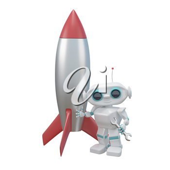 3D Illustration Little Robot Repairs a Rocket on a White Background