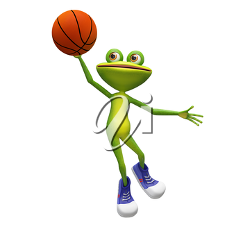 3D Illustration of a Basketball Frog on a White Background