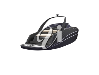 Royalty Free Clipart Image of a Black Boat