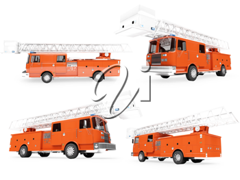 Royalty Free Clipart Image of Firetrucks