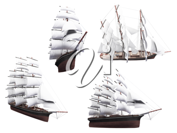 Royalty Free Clipart Image of a Bunch of Ships
