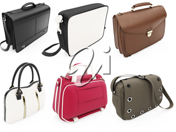 Royalty Free Clipart Image of a Collection of Handbags
