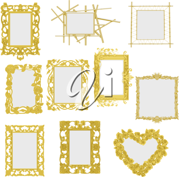 Royalty Free Clipart Image of a Collection of Frames