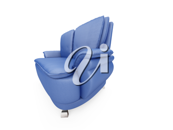 Royalty Free Clipart Image of a Blue Couch
