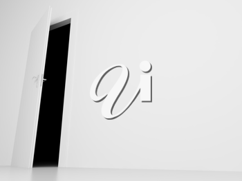 Royalty Free Clipart Image of an Opened Door