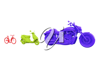 Royalty Free Clipart Image of Different Bikes