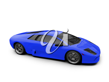 Royalty Free Clipart Image of a Blue Ferrari