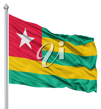 Royalty Free Clipart Image of the Flag of Togo