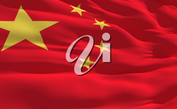 Royalty Free Clipart Image of the Flag of China