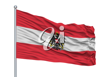 Austria State Flag On Flagpole, Isolated On White Background, 3D Rendering