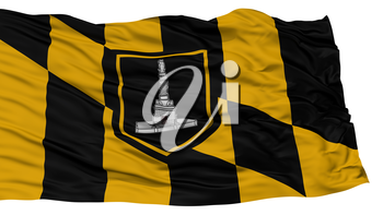 Isolated Baltimore City Flag, City of Maryland State, Waving on White Background, High Resolution