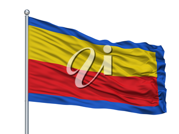 Huy City Flag On Flagpole, Country Belgium, Isolated On White Background, 3D Rendering