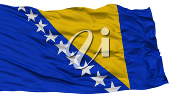 Isolated Bosnia and Herzegovina Flag, Waving on White Background, High Resolution