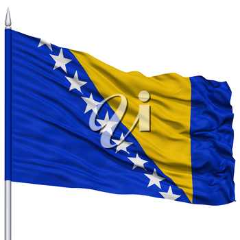 Bosnia and Herzegovina Flag on Flagpole, Flying in the Wind, Isolated on White Background