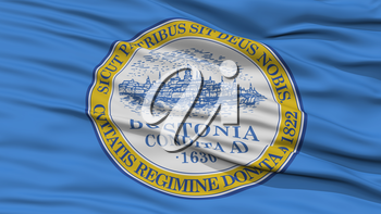 Closeup Boston Flag, Capital of Massachusetts State, Flying in the Wind