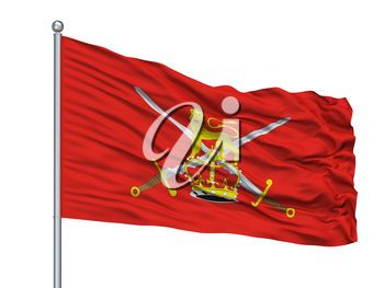 British Army Flag On Flagpole, Isolated On White Background, 3D Rendering