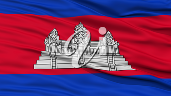 Closeup Cambodia Flag, Waving in the Wind, High Resolution