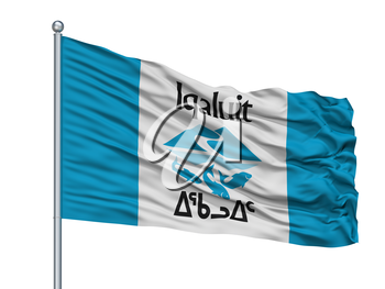 Iqaluit City Flag On Flagpole, Country Canada, Nunavut Province, Isolated On White Background, 3D Rendering