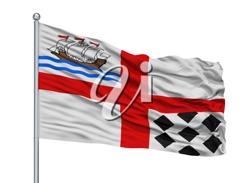 Nanaimo City Flag On Flagpole, Country Canada, Isolated On White Background, 3D Rendering
