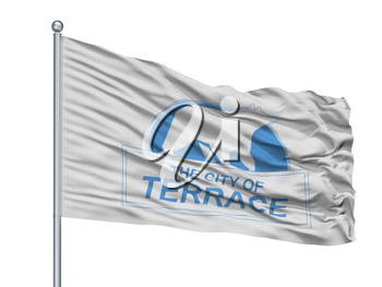 Terrace City Flag On Flagpole, Country Canada, British Columbia Province, Isolated On White Background, 3D Rendering