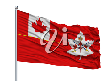 Canadian Army Flag On Flagpole, Isolated On White Background, 3D Rendering