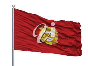 La Serena City Flag On Flagpole, Country Chile, Isolated On White Background, 3D Rendering