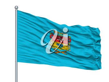 Linares City Flag On Flagpole, Country Chile, Isolated On White Background, 3D Rendering