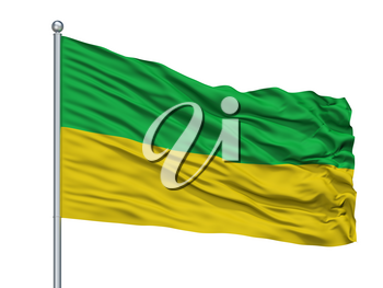 Trujillo City Flag On Flagpole, Country Colombia, Valle Del Cauca Department, Isolated On White Background, 3D Rendering