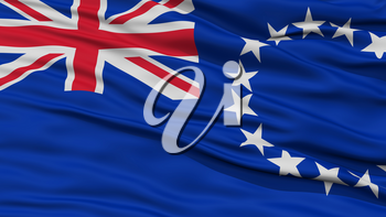 Closeup Cook Islands Flag, Waving in the Wind, High Resolution