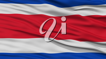 Closeup Costa Rica Flag, Waving in the Wind, High Resolution