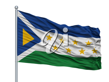 Grecia City Flag On Flagpole, Country Costa Rica, Isolated On White Background, 3D Rendering