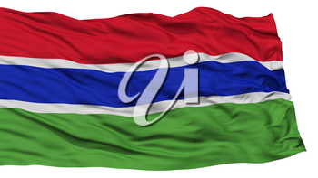 Isolated Gambia Flag, Waving on White Background, High Resolution