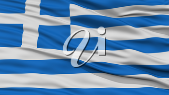 Closeup Greece Flag, Waving in the Wind, High Resolution