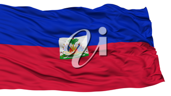 Isolated Haiti Flag, Waving on White Background, High Resolution