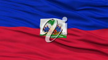 Closeup Haiti Flag, Waving in the Wind, High Resolution