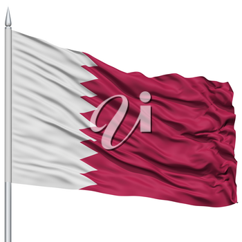 Qatar Flag on Flagpole , 3D Rendering, Isolated on White Background