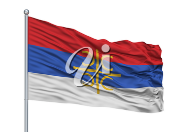 Serbia Nationalistic Flag On Flagpole, Isolated On White Background, 3D Rendering
