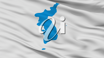 Unification Korea Flag, Closeup View, 3D Rendering