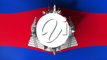 Hole cut in the flag of Cambodia, white background, 3d rendering