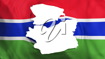 Tattered Gambia flag, white background, 3d rendering