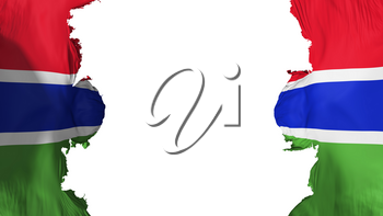Blasted Gambia flag, against white background, 3d rendering